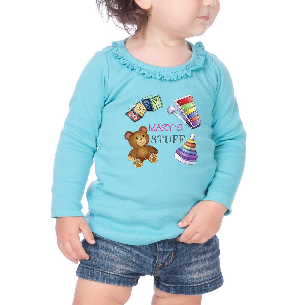 Personalized Custom Babys Toys Cotton Toddler Long Sleeve Ruffle Shirt Top