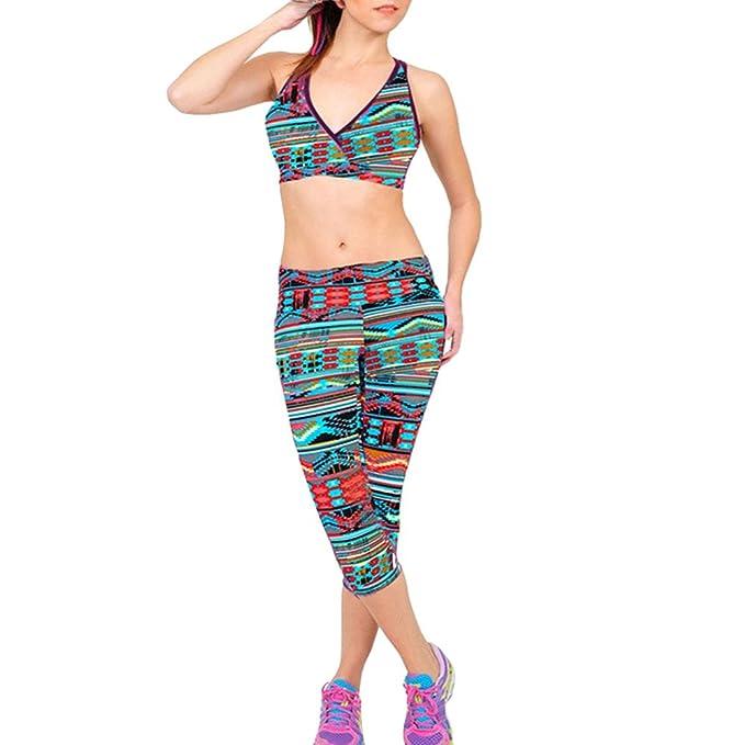VPASS Mujer Pantalones,Elásticos Impresión Moda Pantalones de Yoga Mujer Fitness Mallas Gym Casuales Slim Fit Pants Largos Pantalones Leggings Cintura ...
