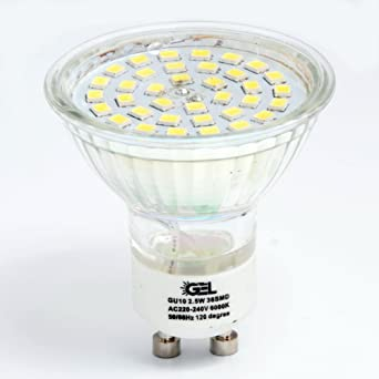 GEL 4X GU10 2.5 W Bombilla LED,Bombillas LED,36SMD,foco de vidrio