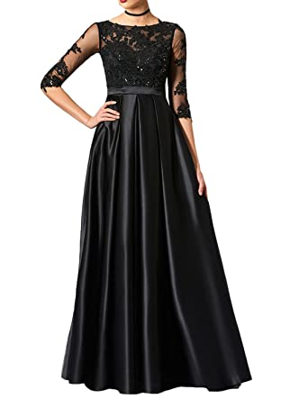 63cfa8bfe00 Udresses Womens Half Sleeve Lace Evening Dress A-Line Satin Prom Party Gown  VN23 at Amazon Women s Clothing store
