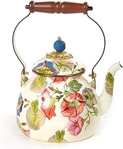 MacKenzie-Childs Morning Glory Enamel Tea Kettle, Floral Tea Kettle, 2-Quart