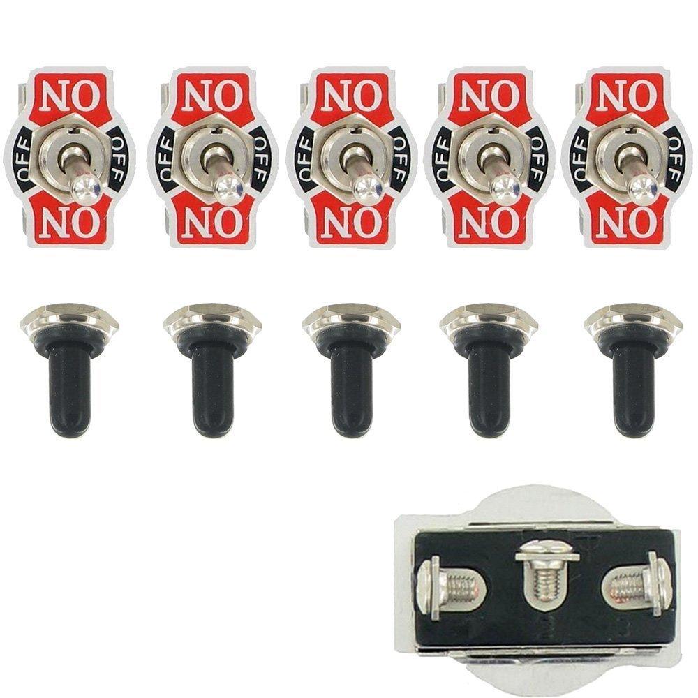 Mintice™ 5 X pesanti 20A 125V 15A 250V DPDT 6 terminali pin ON / OFF / ON rocker interruttore a levetta in metallo calotta del pomello impermeabile