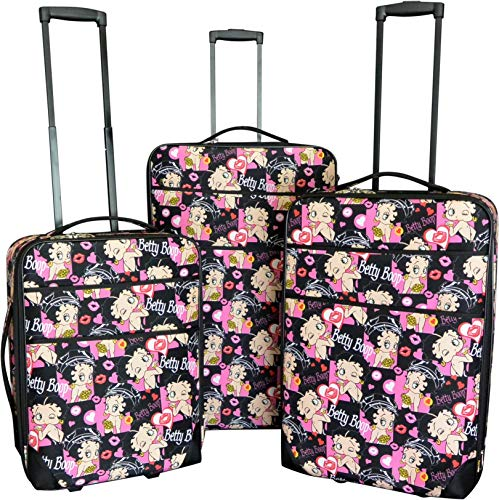 3Pc Luggage Set Travel Bag Rolling Wheel CarryOn Expandable Upright Betty Boop (Black)