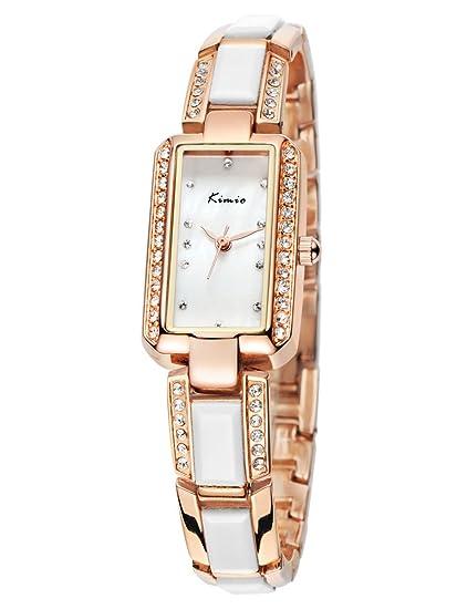 Alienwork Reloj Mujer Relojes Acero Inoxidable Oro Rosa Analógicos Cuarzo Plata Impermeable nácar Strass Purpurina: Amazon.es: Relojes