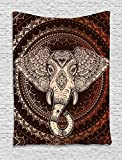Ambesonne Ethnic Tapestry, Oriental Elephant Head in Mandala Circle with Lines Folk Totem Design, Wall Hanging for Bedroom Living Room Dorm, 40 W X 60 L inches, Maroon Beige