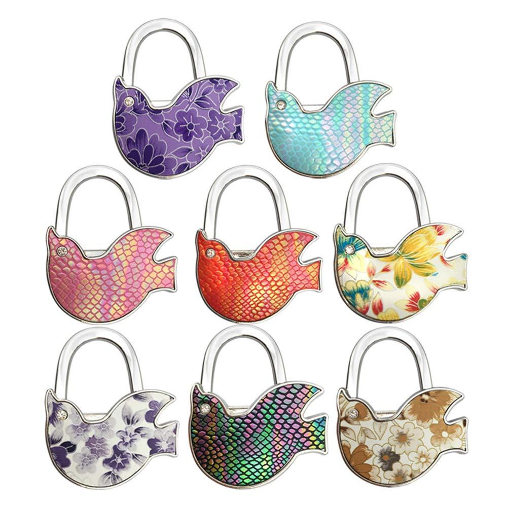 Axmerdal Handbag Table Hook Hummingbird Shape Purse Hanger Owl Bird Decor Handbag Bag Table Holder (8pcs)
