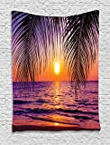 Ambesonne Tropical Decor Collection, Sunset over the Ocean with Tropical Palm Trees Twilight Sundown Scenery Print, Bedroom Living Room Dorm Wall Hanging Tapestry, Purple Orange Black