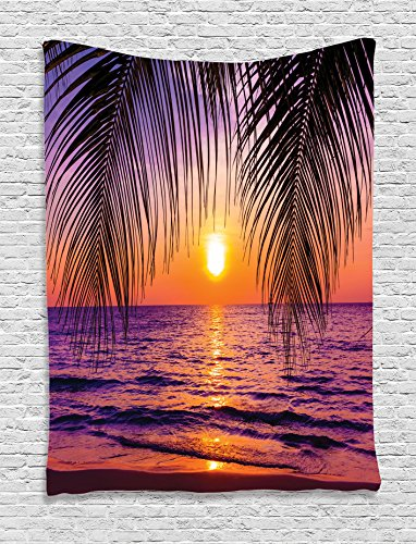 Ambesonne Tropical Decor Collection, Sunset over the Ocean with Tropical Palm Trees Twilight Sundown Scenery Print, Bedroom Living Room Dorm Wall Hanging Tapestry, Purple Orange Black (Tropical Bedroom Sets)