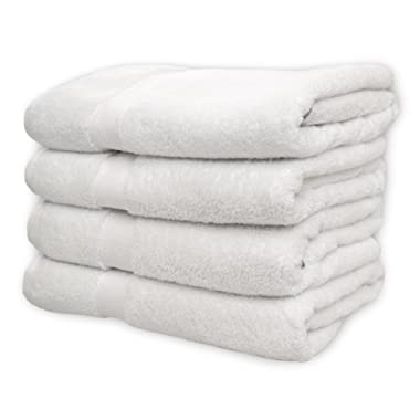 Cotton & Calm Exquisitely Plush and Soft Bath Towel Set, White - 4 Large Bath Towels Set - Spa Resort and Hotel Quality, Super Absorbent 100% Cotton Luxury Bathroom Towels