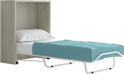IB - Cama retráctil con Mueble Giratorio, somier y colchón - Estructura de Color Abedul