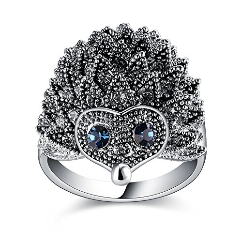 Mytys Hedgehog Design Cocktail Statement Ring Sets Raised Marksite Crystal Silver Rings(9)