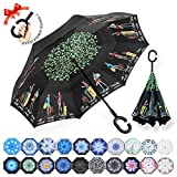 : ZOMAKE Double Layer Inverted Umbrella Cars Reverse Umbrella, UV Protection Windproof Large Straight Umbrella for Car Rain Outdoor With C-Shaped Handle(Traveler)