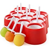 FPBS 9 x Mini Silicone Ice Cream Moulds Popsicle Molds - BPA-free Ice Pop / Stick Ice Cream / Lolly Maker Tool Set, Wonderful Tools for Party