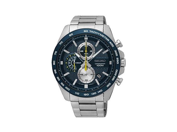 Reloj Seiko ssb259p1 para hombre con caja y brazalete de acero esfera y bisel azul,