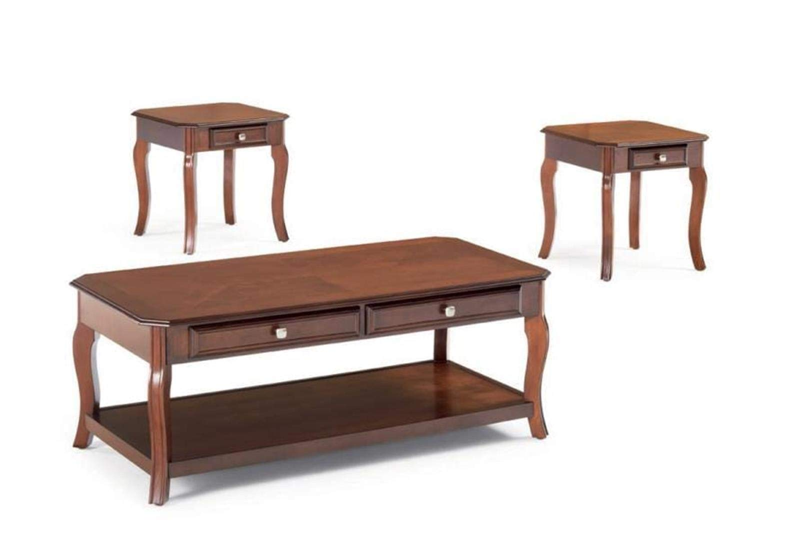 3-piece Occasional Table Set with Parquet Top Warm Light Bourbon by Coaster Home Furnishings