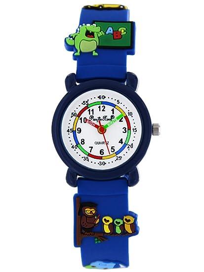 Pacific Time Reloj de pulsera para niños Reloj aprendizaje Escuela Einschulung Chica Joven analógico de cuarzo azul 86282: Amazon.es: Relojes