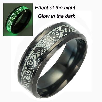 Tanyoyo Black Celtic Dragon Rings For Men Women stainless steel