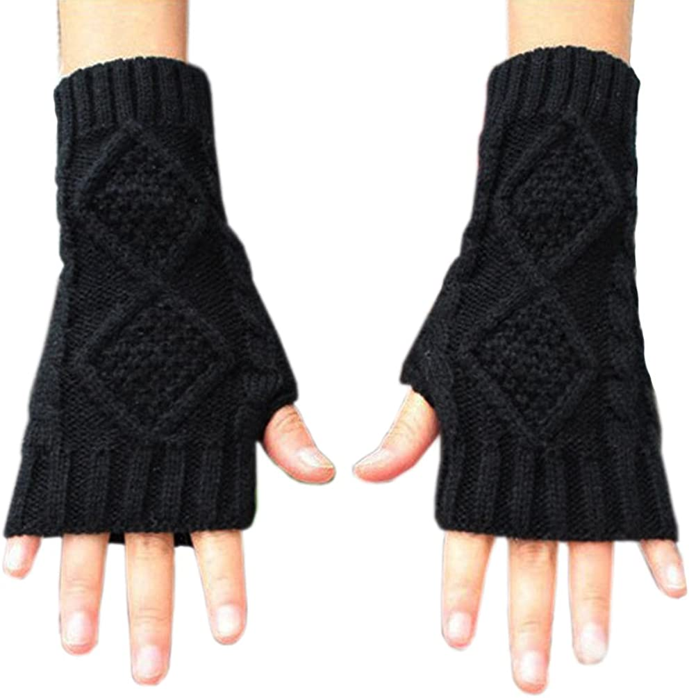 Women's Hand Crochet Winter Warm Fingerless Arm Warmers Gloves