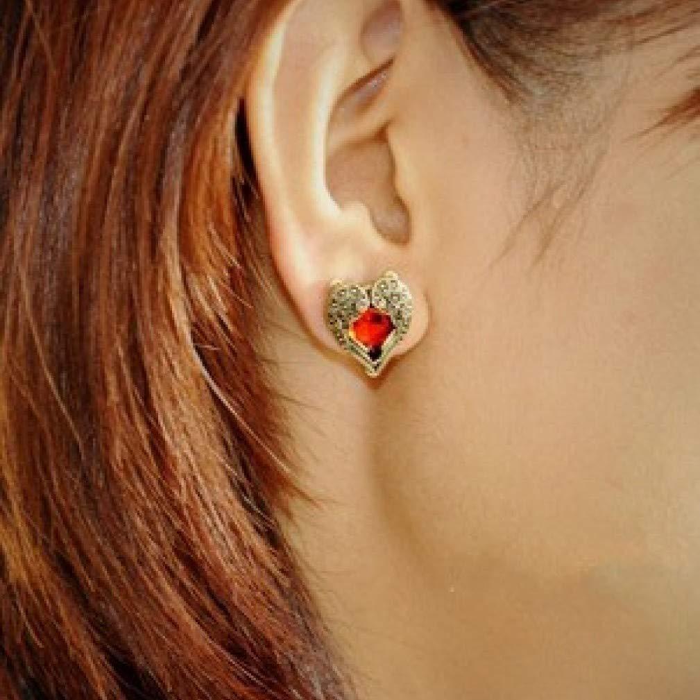 Xhalery Vintage Retro Angel Wings Peach Heart Red Crystal Stud Earrings Jewelry Gift for Women
