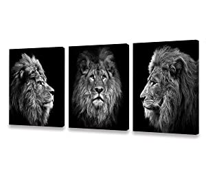 CBHWallArt Wall Art Black and White Lion Head Portrait Wall Art Painting Pictures Print 3 Pieces Canvas Animal for Bedroom Living Room Office Wall Decor Home Decoration Framed Ready to Hang
