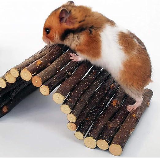 Kitabetty Juguete para Masticar hámster, Escalera de Madera Puente para túneles de hámster, para hámster Cerdos holandeses Chinchillas Ardillas Conejos Pequeños Juguetes para Mascotas: Amazon.es: Productos para mascotas