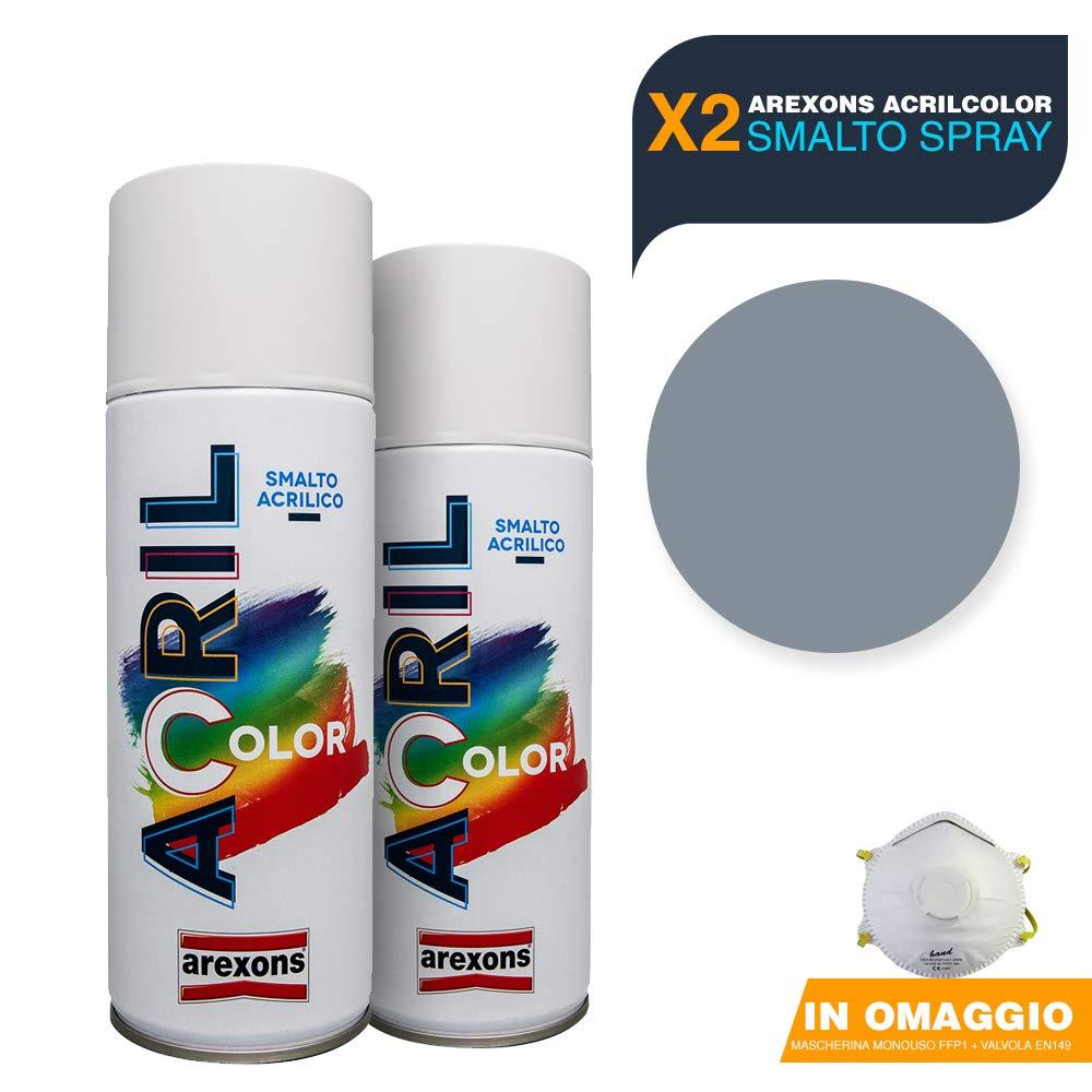 AREXONS Smalto Acrilico Spray per tutte le superfici 2 Bombolette da 400ml + OMAGGIO Mascherina monouso (BIANCO OPACO) BuyStar
