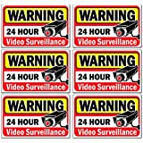 """Signs Authority Video Security Decals Sign for Home/Business 6 Piece Set Self Adhesive Vinyl Stickers-Outdoor/Indoor 4"""" x 2.5"""" for Window, Door & Wall for CCTV, DVR, Camera Surveillance Systems"""