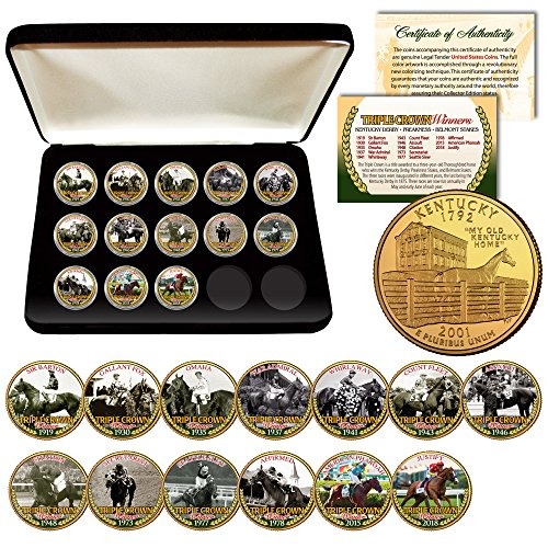 - 2018 TRIPLE CROWN HORSE WINNERS 24K Gold KENTUCKY Quarters 13-Coin Set BOX & COA