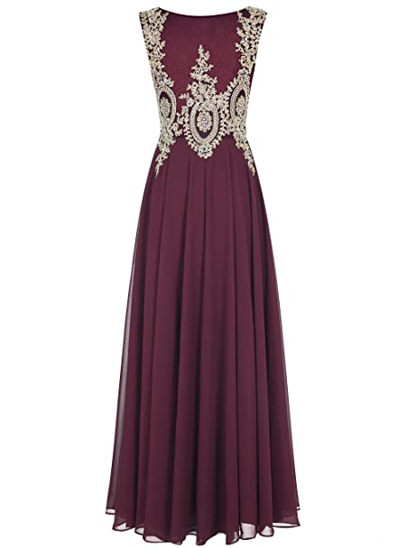 Amazon.com: Tideclothes ALAGIRLS Long Applique Prom Dress See-Through Chiffon Evening Dress: Clothing