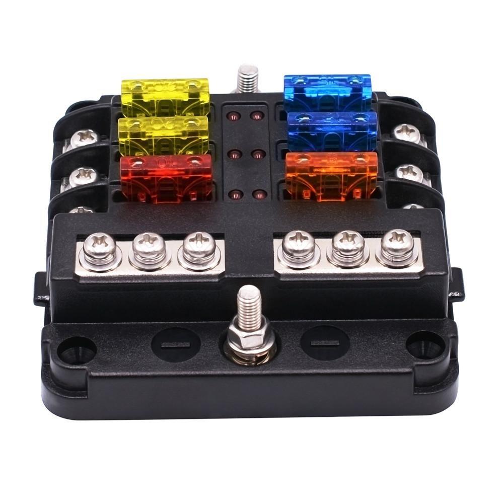 Prom-note Caja de Fusibles Portafusibles Independiente Positivo y Negativo Caja de 6 Maneras de fusibles con indicador LED para Car Boat Marine Trike