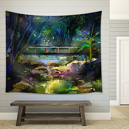 Oil Painting Landscape with Wooden Bridge Over Creek in Forest Fabric Wall