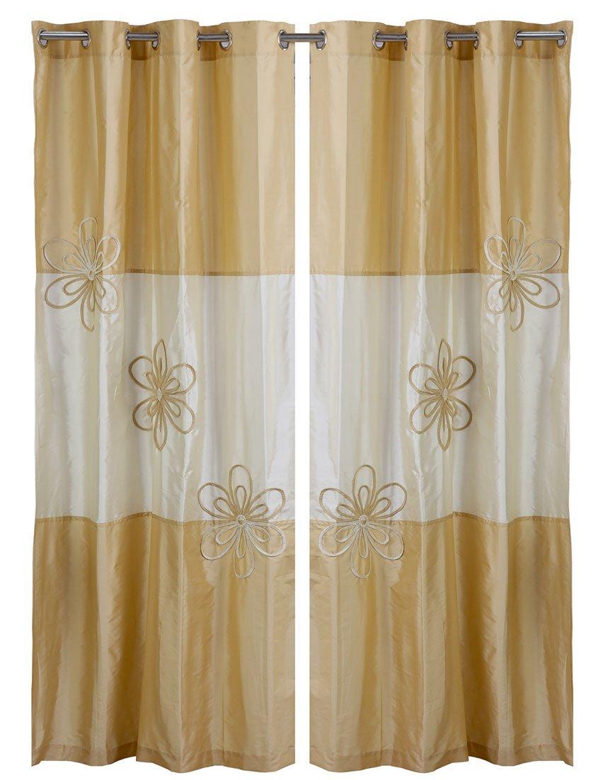 WPM Designer Collection Home Décor: 2 Piece Grommets Gold Beige Flower Print Curtains/Panels + 2 Matching Tie Backs