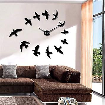 ganjue 1 Pieza DIY Espejo Decorativo Reloj De Pared Grande Diseño Moderno Pájaros Voladores Sin Marco