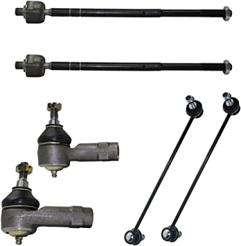6 Pieces aftermarket replacement Kit of 2 Inner 2 Outer Tie Rod Ends 2 Front Sway bar Links