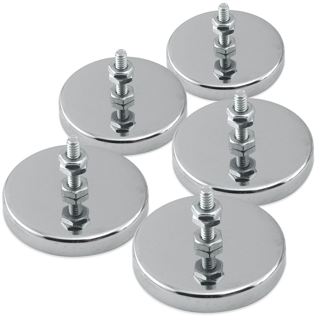 """Master Magnetics RB50B3NX5 Magnetic Hook, Round Base Magnet Fastener with Bolt Chrome Plate, 2.04"""" Diameter, 1.25"""" Total Height, 35 Pounds, Silver (Pack of 5)"""