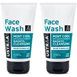 Ustraa Face Wash for Dry to Normal Skin, Mint Cool, 100g (Pack of 2)