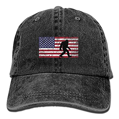 American Flag Bigfoot Vintage Washed Dyed Cotton Twill Low Profile Adjustable Baseball Cap Black (Bigfoot Products)