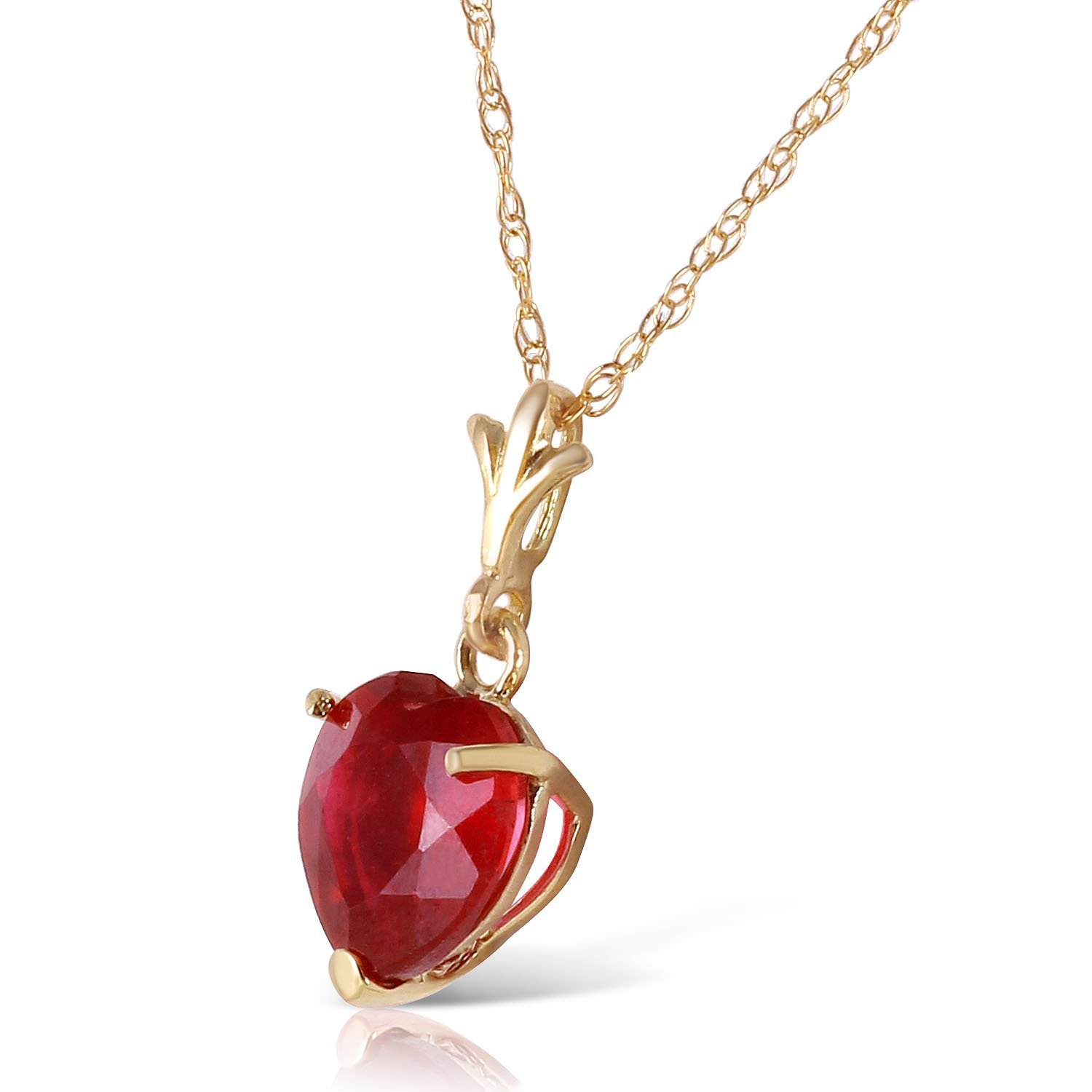 Galaxy Gold 1.45 Carat 14k Solid Gold Necklace with Natural Heart-Shaped Ruby Galaxy Gold Products Inc 4160Y/_16