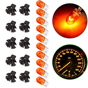 ECCPP T10 Halogen Light Bulbs 10Pcs Orange 194 Wedge Bulbs wtih Scokets for Instrument Panel Gauge Cluster Light