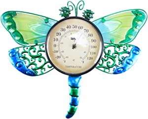 MUMTOP Thermometer Indoor Outdoor Patio Dragonfly Waterproof Wall-Mounted Thermometer Does not Require Any Battery