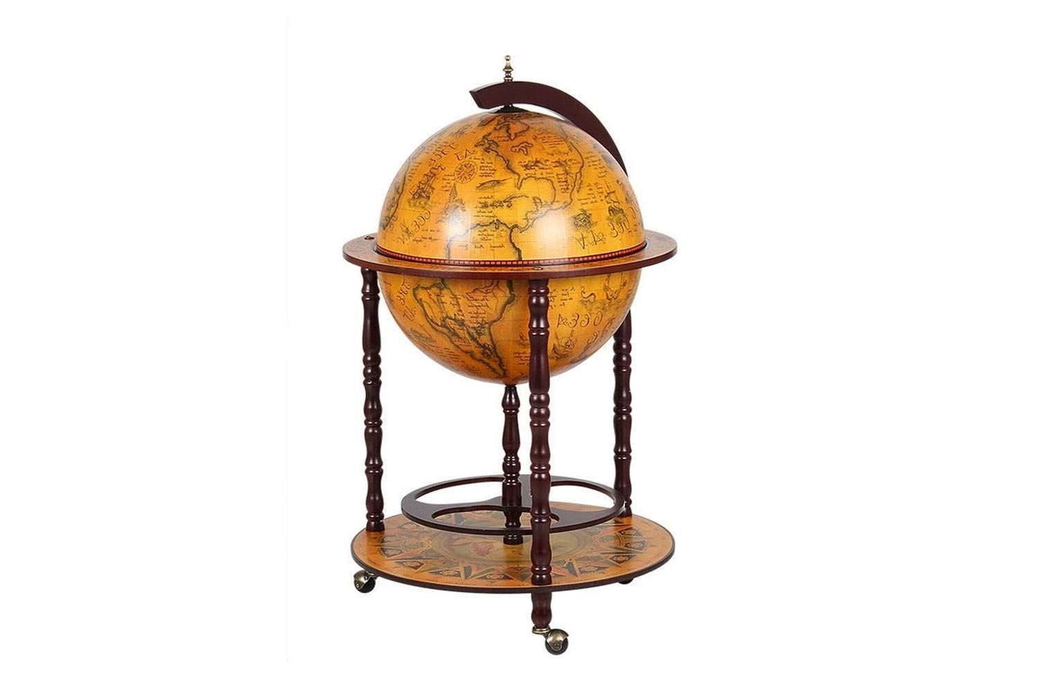LungMongKol Shop Wooden Vintage Orb Dispenser Liquor Whiskey Wine Reddish Brown Storage with Wheels 16th-Century Italian Replica Globe Hand-Painted Frescoes Heaven, Old World Map of Earth Sphere