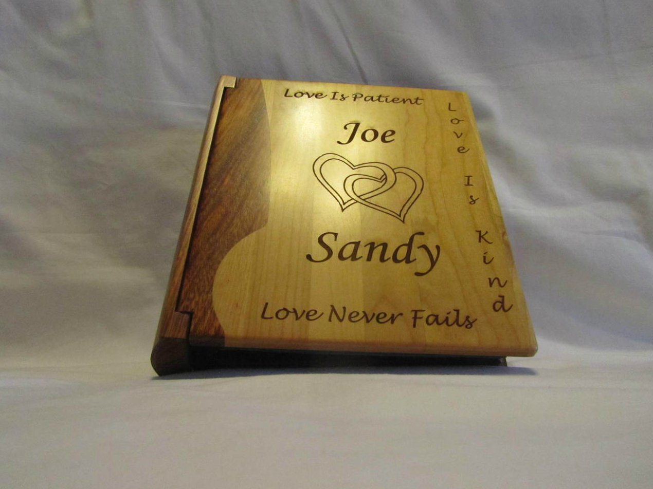 Custom Engraved Wooden Wedding Photo Album ''Joined Hearts'' - Large