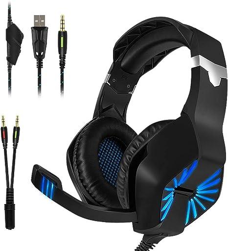 Auriculares Gaming, YZPUSI Stereo LED Multiplataforma Gaming ...