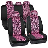 zebra stripe seat covers - ComfySeats Velvet Animal Car Seat Covers Two Tone Hot Pink Zebra Accent on Black