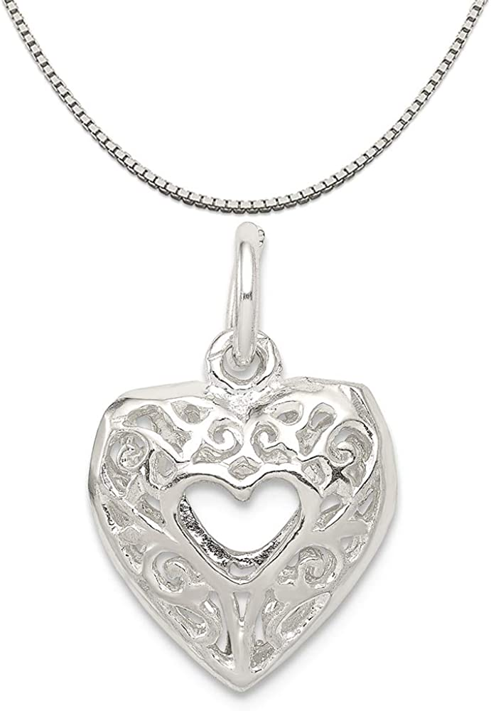Rembrandt Charms Sterling Silver Enameled Ill Never Stop Loving You Charm on a 16 Box or Curb Chain Necklace 18 or 20 inch Rope
