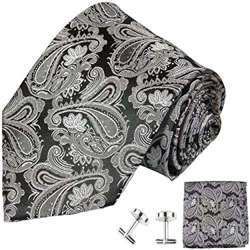 Paul Malone Extra Long Silk Necktie, Pocket Square and Cufflinks Silver - Silver Material And Black