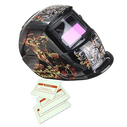 Máscara Dados de Solar Oscurecimiento Automático Soldadura Por Arco Casco de Soldador TIG MIG - Gris