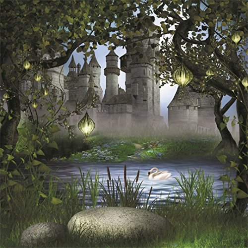 (AOFOTO 7x7ft Vintage Medieval Castle Photography Backdrop Dreamy Forest Background Fairy Tale Lamp Garden Tree Leaves Lake Swan Kid Girl Boy Princess Prince Portrait Photo Studio Props Vinyl Wallpaper )