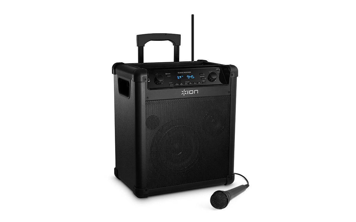 Ion Audio Block Rocker Ipa76a Portable Bluetooth Speaker With Mic Radio And Wheels Handle For Transport Dynamic Amplifier To Use As Microphone Electronic Musical Instruments
