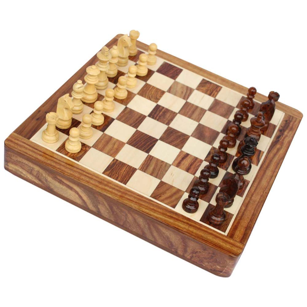 HomeRoots Handmade Square Magnetic Chess Set in Wood with Storage Drawer by HomeRoots